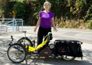 Sylvia Halpern and her trike Moto Myrtle with custom built EcoSpeed Mid-Drive.
