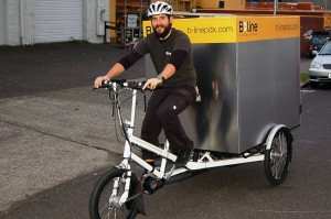 B-line Urban Delivery uses EcoSpeed electric assist to maintain consistency in their delivery schedule.  They like the power to weight ratio of the EcoSpeed mid-drive and haul up to 500 pounds of goods.